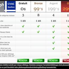 Plans et Prix pour afficher sur CVAC-Quebec.net