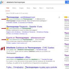 CVAC Quebec Detaillants Thermopompes sur Google