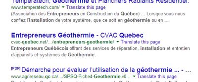 Recherche entrepreneur geothermie google