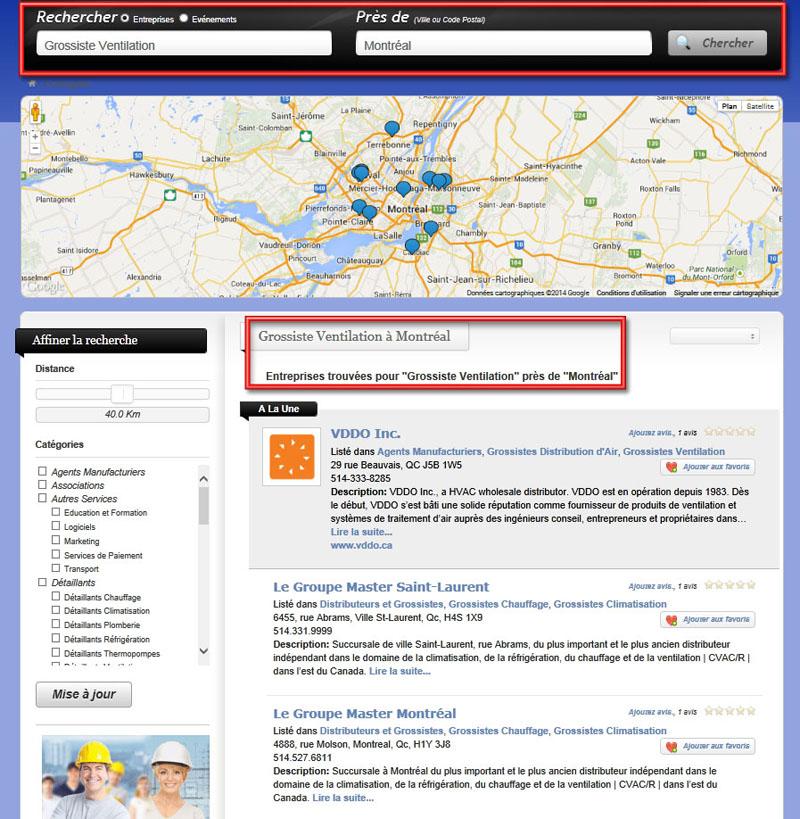 Exemple de Mise en Valeur dans les Résultats de Recherche: Grossiste Ventilation Montreal